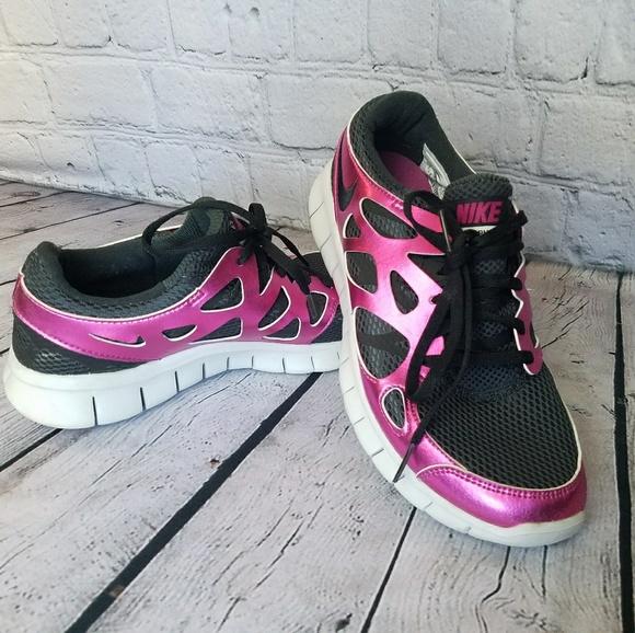 separation shoes 76a65 b8d9f NIKE FREE RUN + 2 Metallic Pink & Black Women's 9.  M_5a91fd1e6bf5a660ba6d6a8b